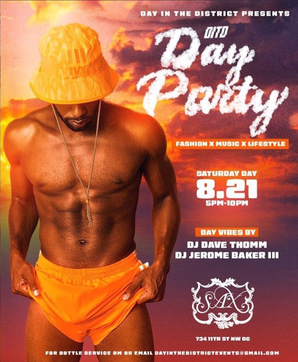 D.C. EVENT ALERT! DITD: SATURDAY DAY PARTY AT SAX THEATER & LOUNGE.